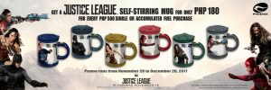 Collect cool Justice League self-stirring mugs at Phoenix Petroleum gas stations