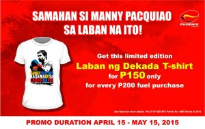 Get limited edition Pacquiao shirts at Phoenix stations nationwide