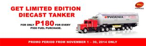 Get limited edition Phoenix diecast tanker at Phoenix gas stations in Mindanao