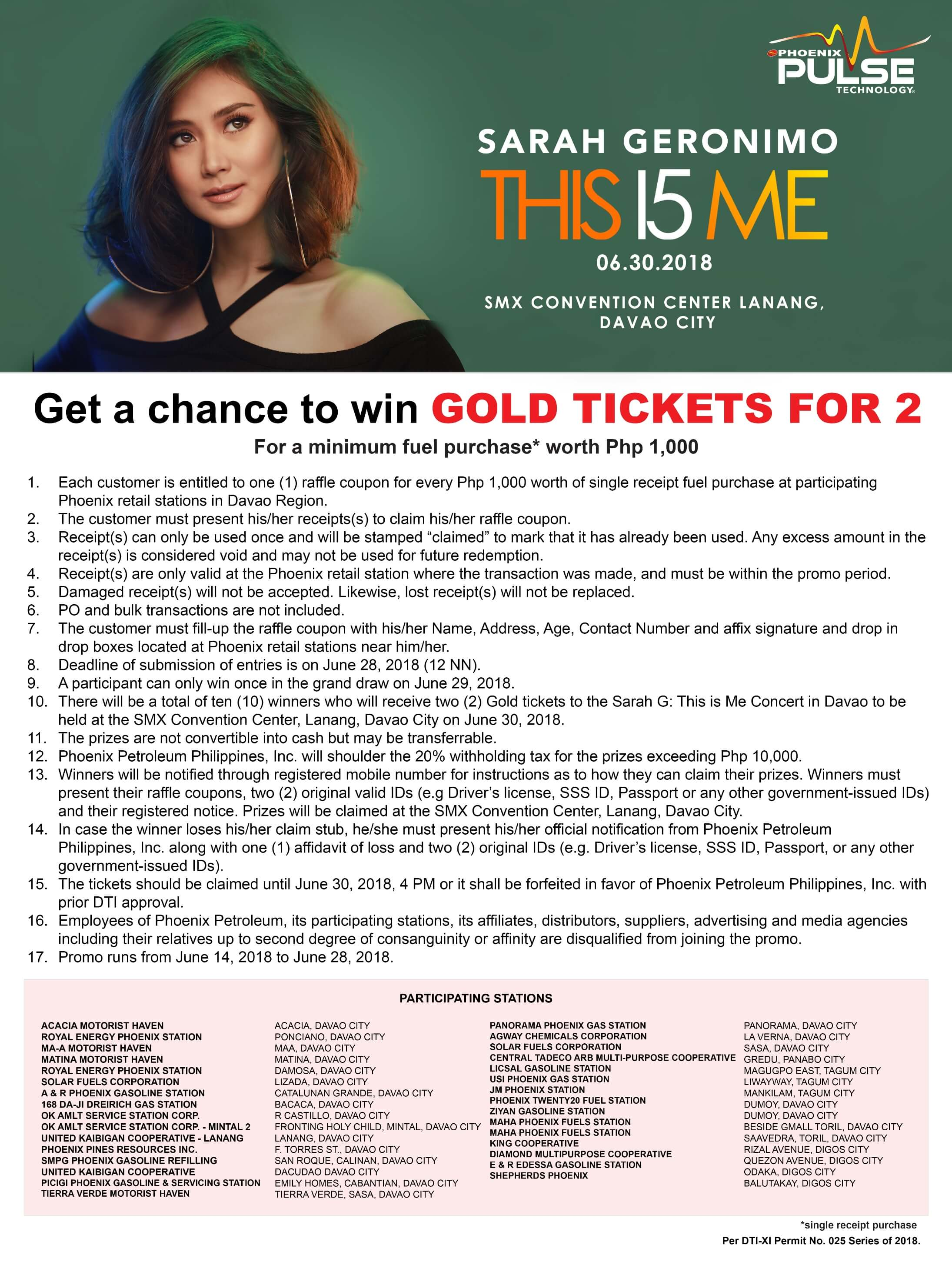 Win Sarah G concert tickets when you gas up at Phoenix