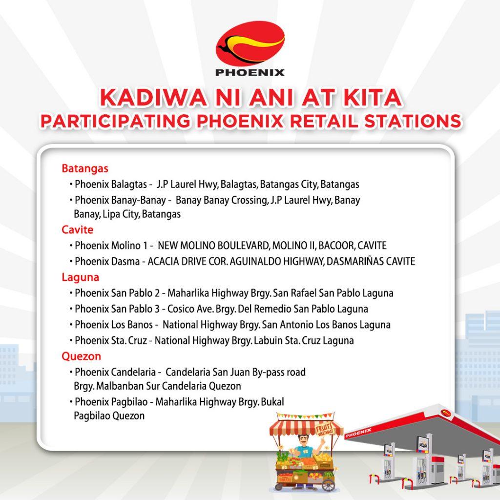 Kadiwa ni Ani at Kita participating Phoenix retail stations